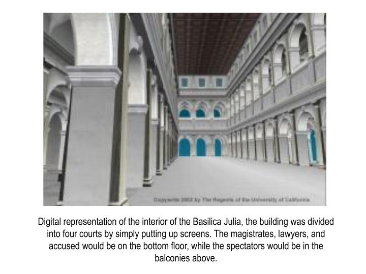 Digital representation of the interior of the Basilica Julia, the building was divided into four courts by simply putting up screens. The magistrates, lawyers, and accused would be on the bottom floor, while the spectators would be in the balconies above.