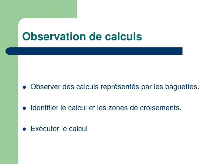 Observation de calculs
