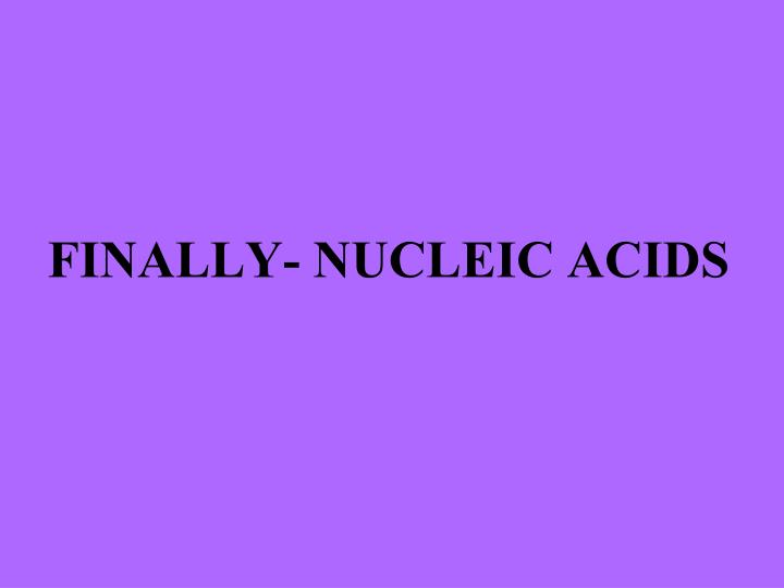 FINALLY- NUCLEIC ACIDS