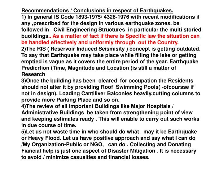 Recommendations / Conclusions in respect of Earthquakes.
