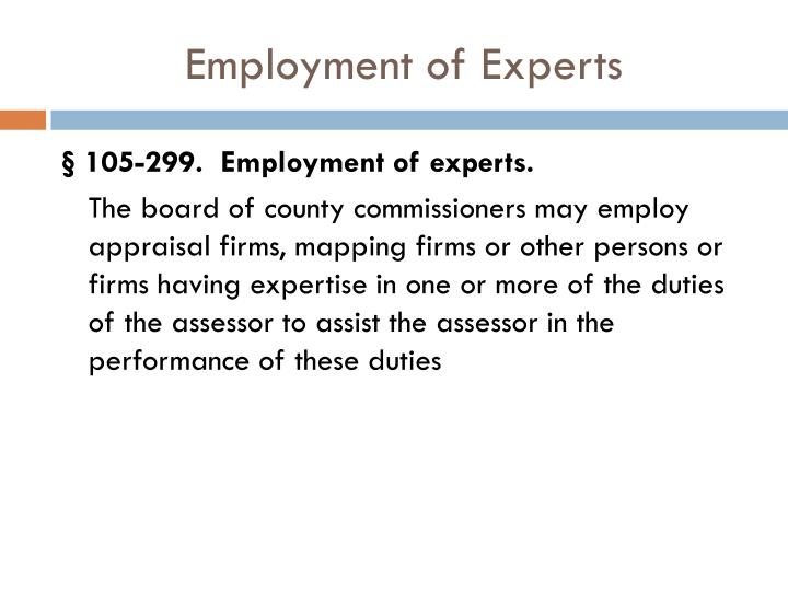 Employment of Experts