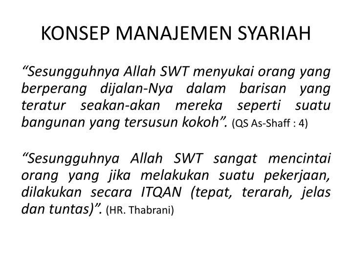 Konsep manajemen syariah
