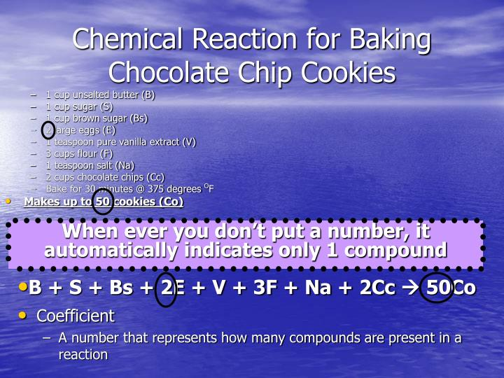 Chemical Reaction for Baking Chocolate Chip Cookies