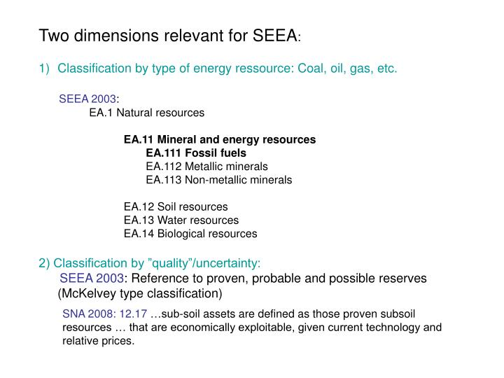 Two dimensions relevant for SEEA