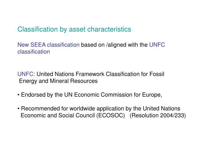 Classification by asset characteristics