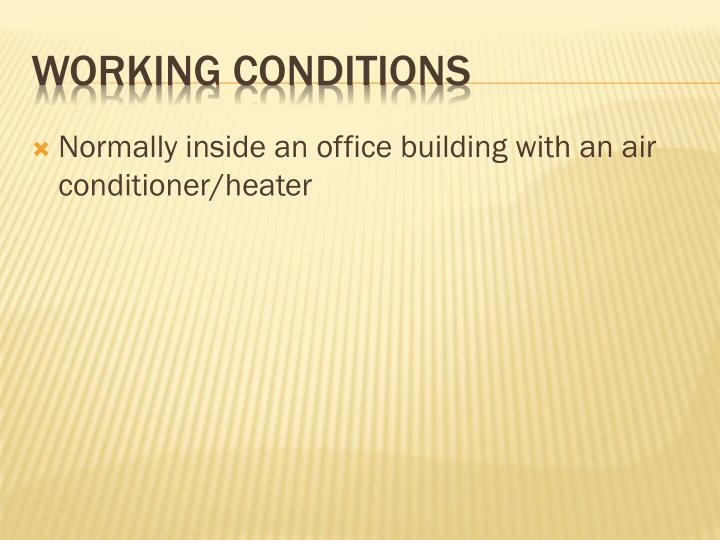 Normally inside an office building with an air conditioner/heater