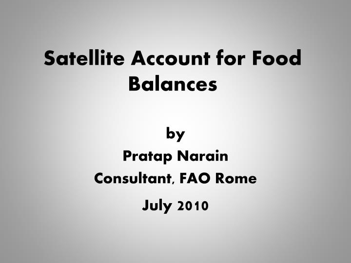 satellite account for food balances