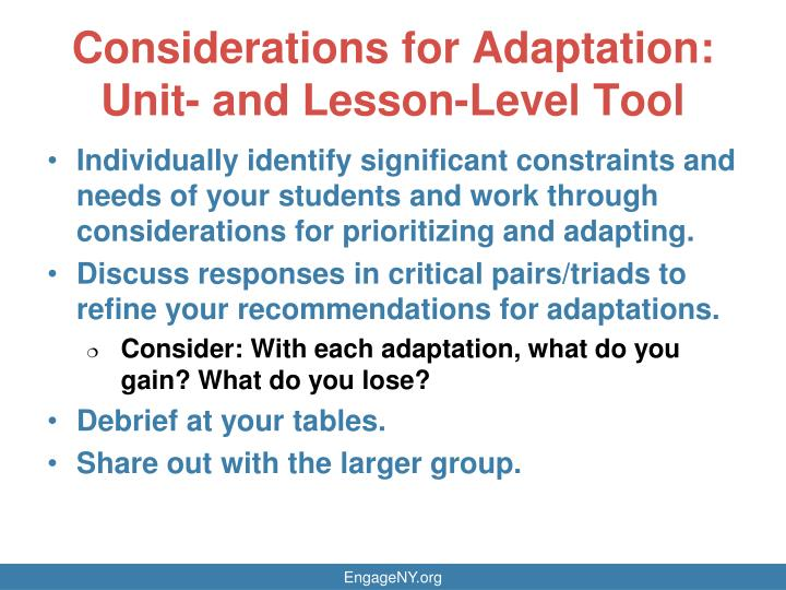 Considerations for Adaptation: Unit- and Lesson-Level Tool