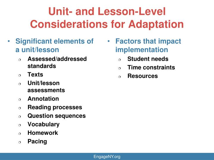 Unit- and Lesson-Level Considerations for Adaptation