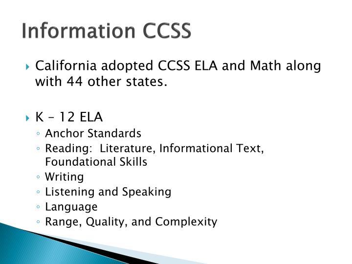Information CCSS