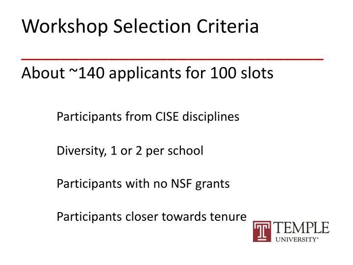 Workshop Selection Criteria