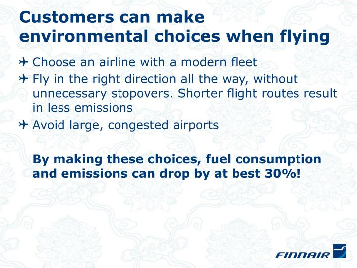 Customers can make environmental choices when flying