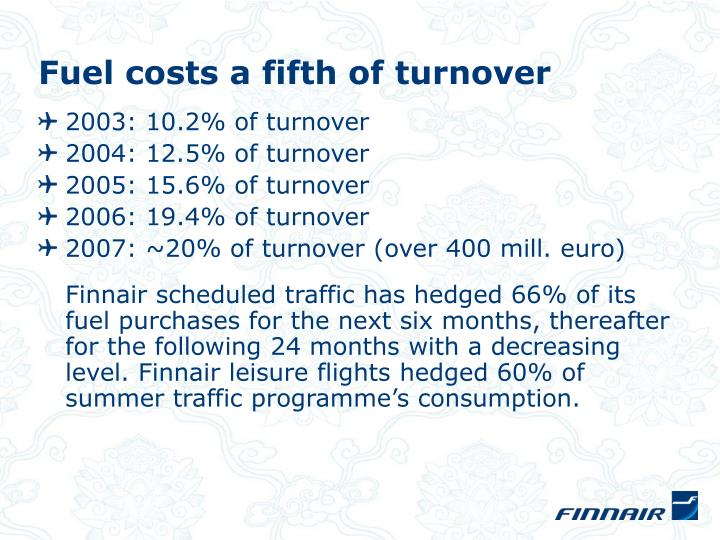 Fuel costs a fifth of turnover