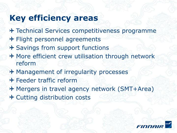 Key efficiency areas