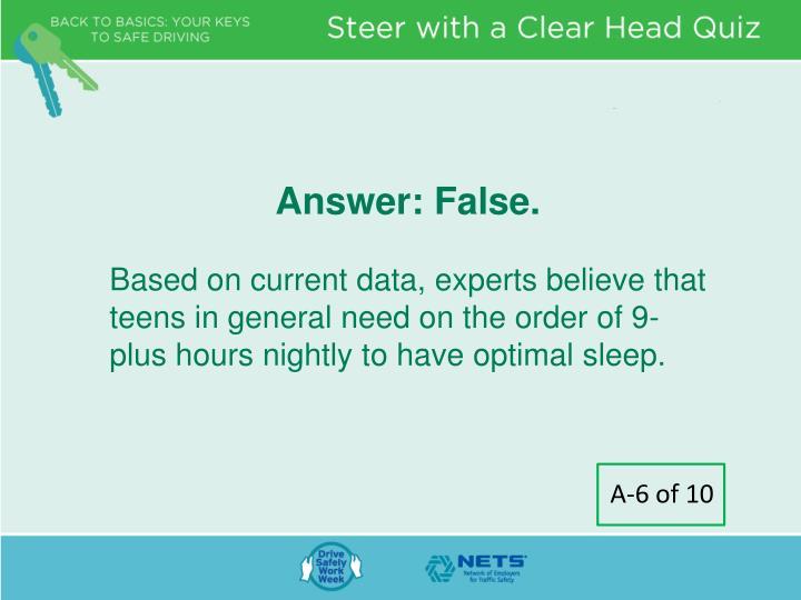 Answer: False.