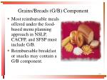 grains breads g b component