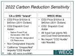 2022 carbon reduction sensitivity