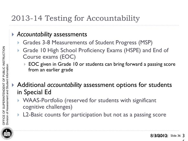 2013-14 Testing for Accountability