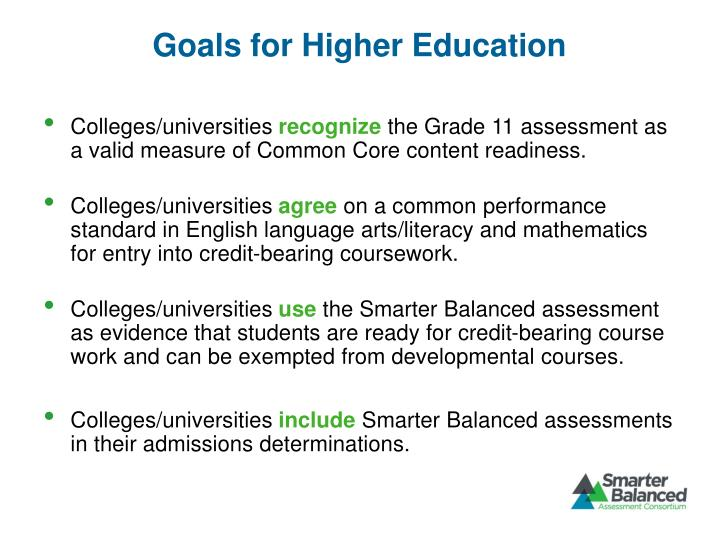 Goals for Higher Education