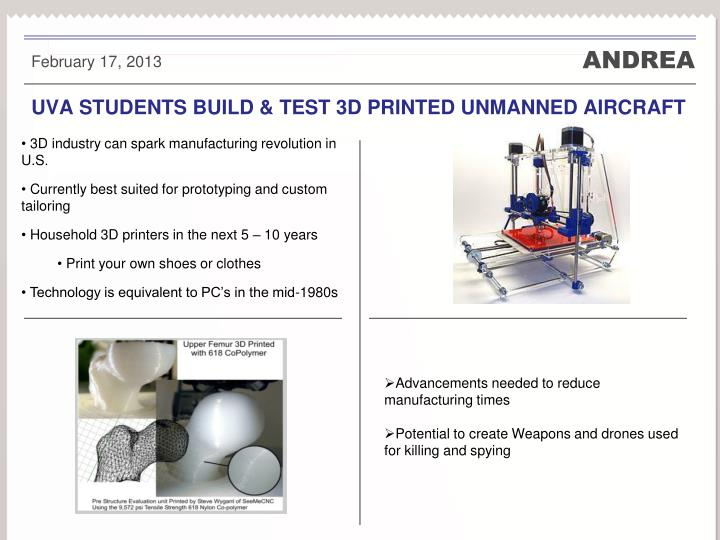 Uva students build test 3d printed unmanned aircraft