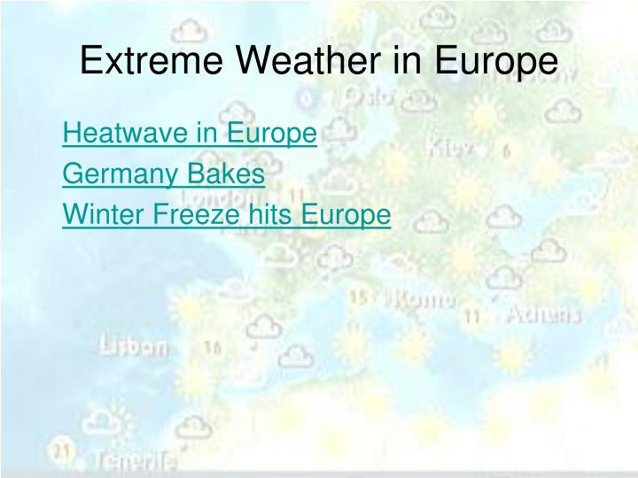 Extreme Weather in Europe