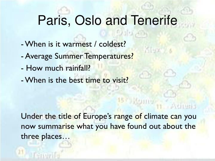 Paris, Oslo and Tenerife