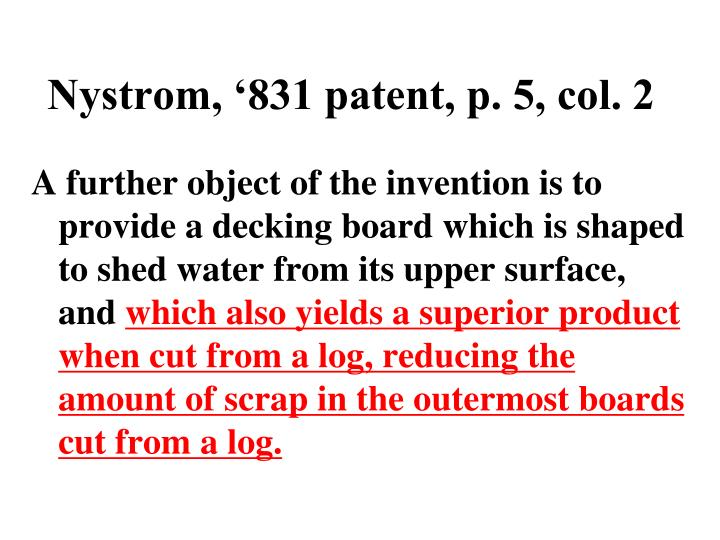 Nystrom, '831 patent, p. 5, col. 2