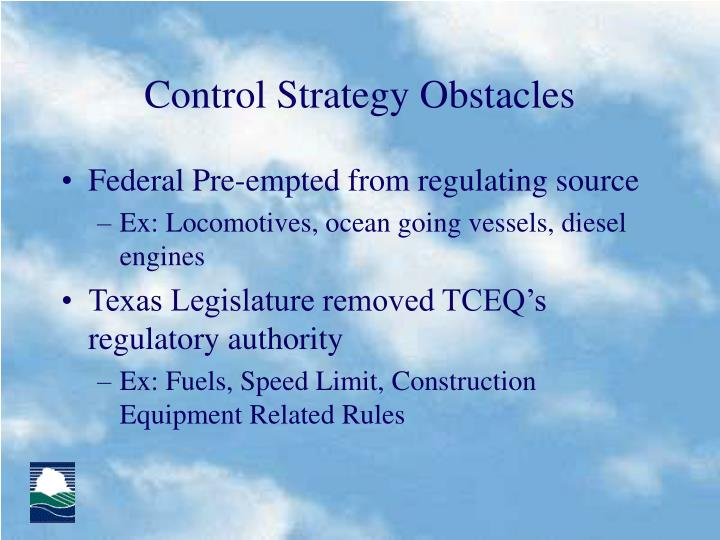 Control Strategy Obstacles