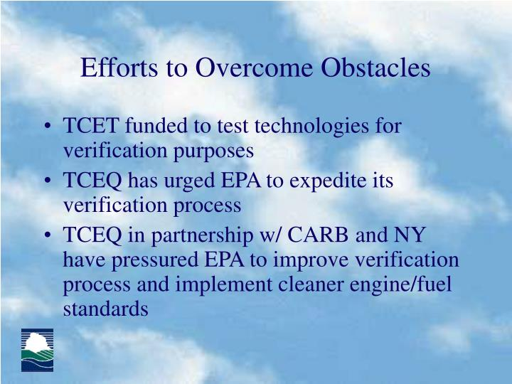 Efforts to Overcome Obstacles