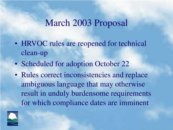 March 2003 Proposal