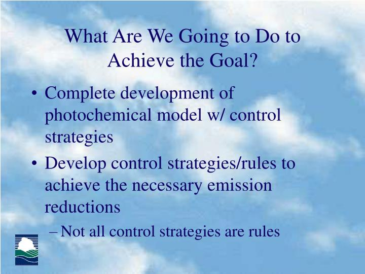 What Are We Going to Do to Achieve the Goal?