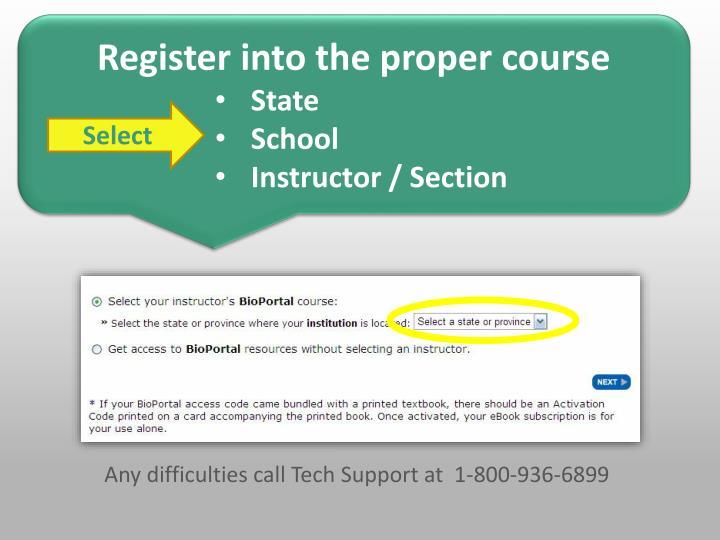 Register into the proper course