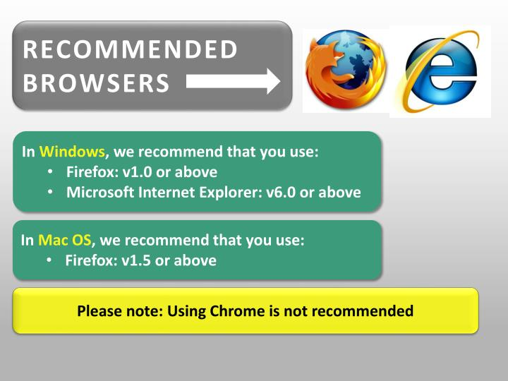 RECOMMENDED BROWSERS