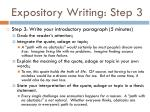 expository writing step 3