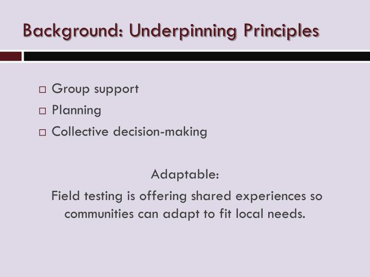 Background underpinning principles