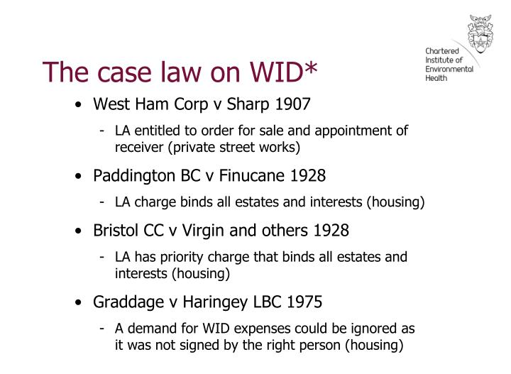 The case law on WID*