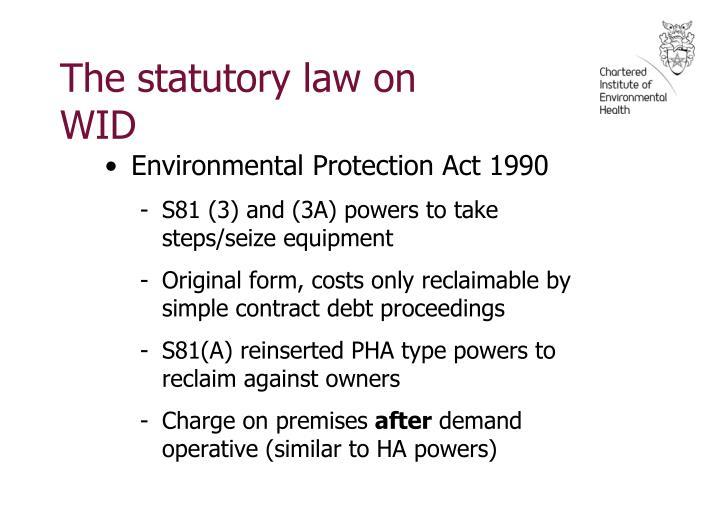 The statutory law on WID