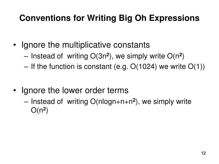 Conventions for Writing Big Oh Expressions