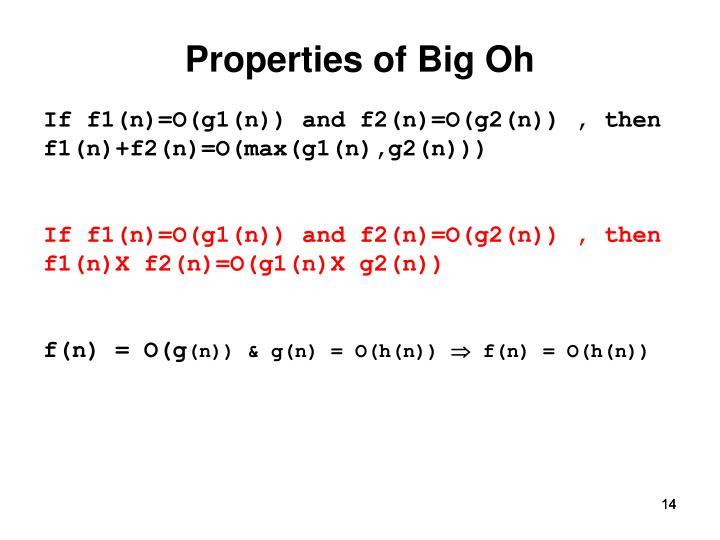 Properties of Big Oh