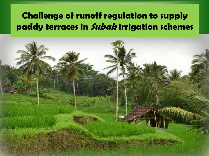 Challenge of runoff regulation to supply paddy terraces in subak irrigation schemes
