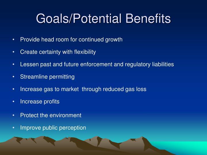 Goals/Potential Benefits