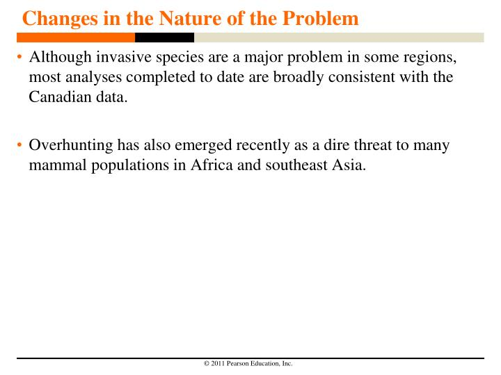 Changes in the Nature of the Problem