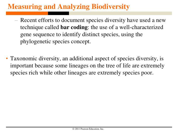 Measuring and Analyzing Biodiversity
