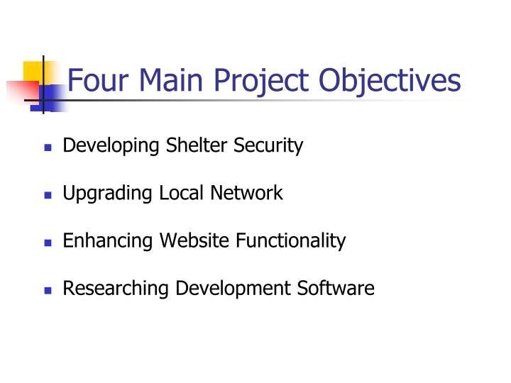 Four main project objectives