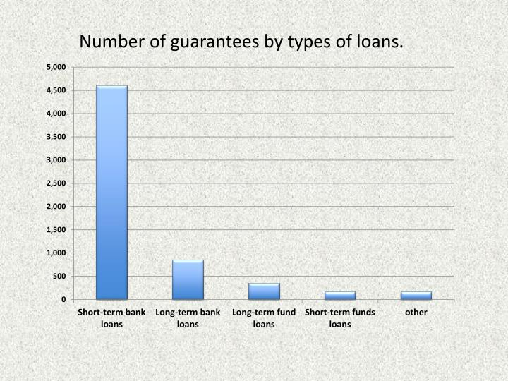 Number of guarantees by types of loans.