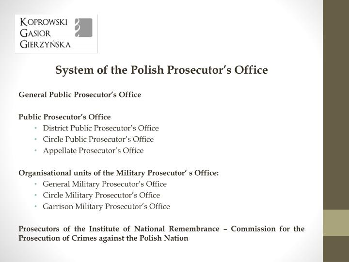 System of the Polish Prosecutor's Office