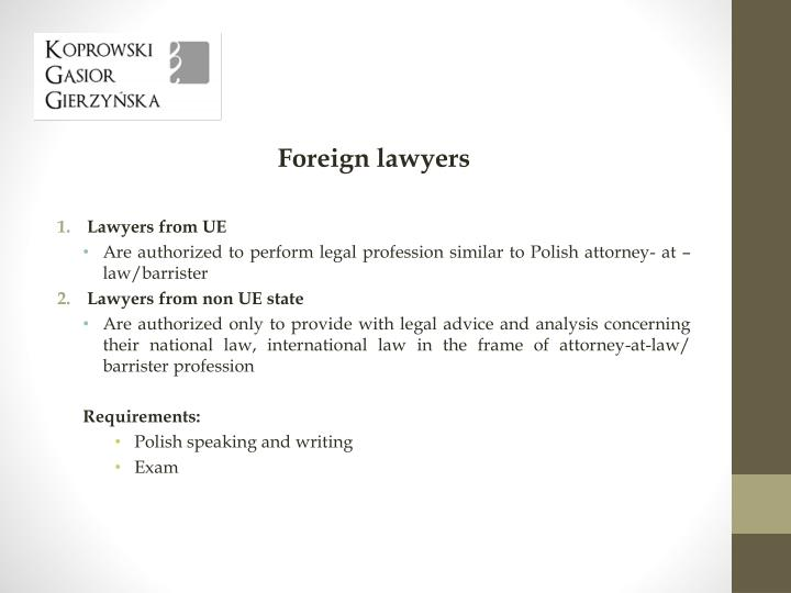 Foreign lawyers