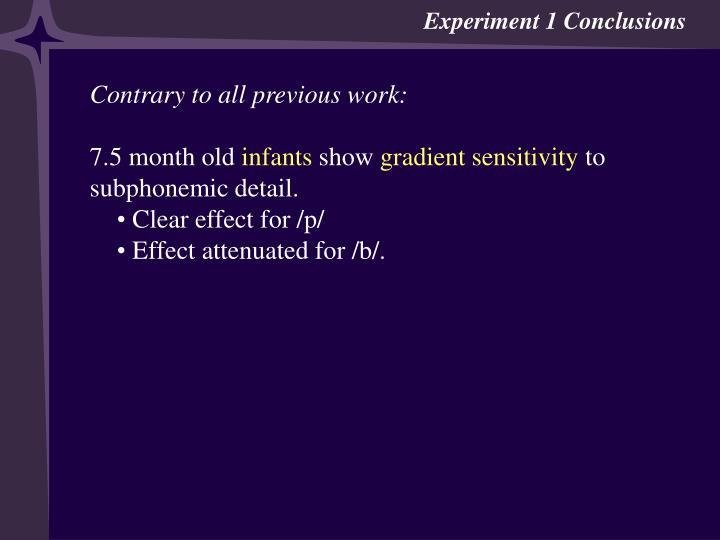 Experiment 1 Conclusions