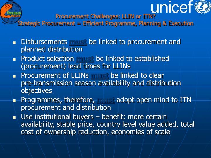 Procurement Challenges: LLIN or ITN?