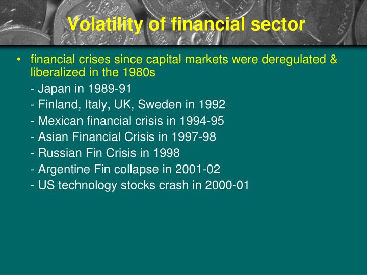 Volatility of financial sector